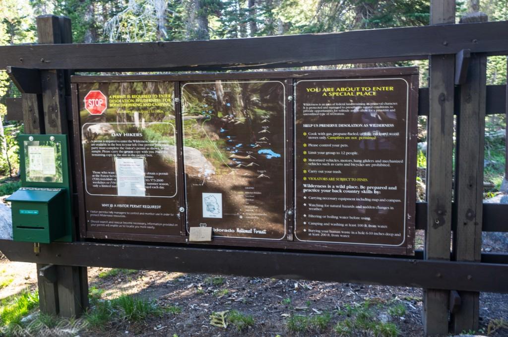 Trail sign, Map display, Permit box