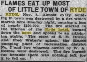 ryde burns down - oakland tribune nov 8 1911
