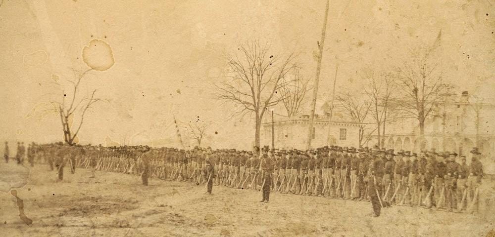 2nd Wisconsin Cavalry at Benton Barracks, St. Louis, Missouri. Credit - Chubachus