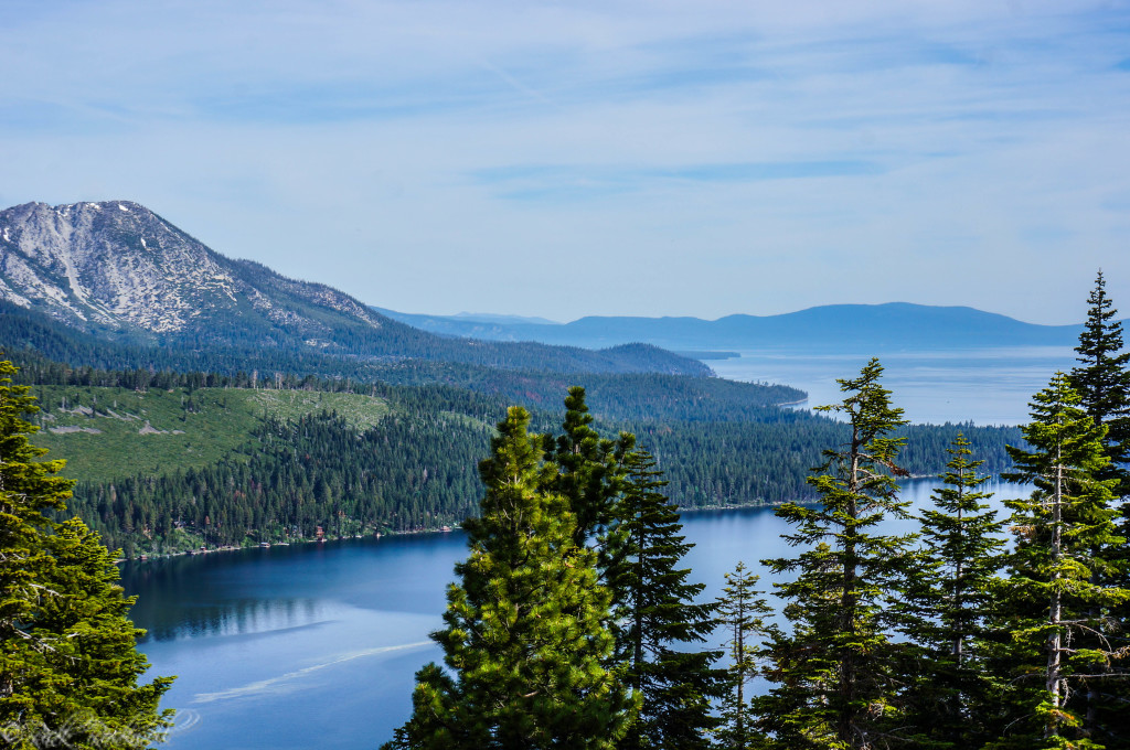 View of Fallen Leaf Lake and Lake Tahoe from the Angora Fire Lookout
